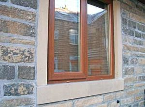 Sandstone window sills and mullions