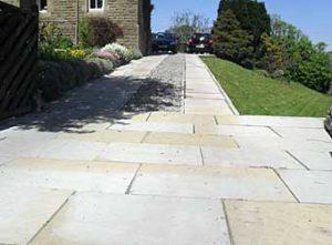 Sawn Yorkstone paving slabs