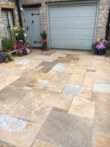 Riven patio paving in mixed sizes and colours